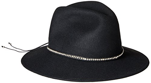 Ale by Alessandra Women's Harley Wool Adjustable Upf 50+ Felt Fedora Hat with Skull and Silver Metal Beads, Black, One Size