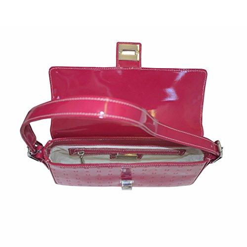 Arcadia Silvi en cuir verni italien sac à bandoulière moyenne - Rose
