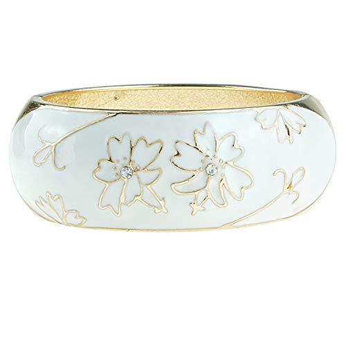 UJOY Handcrafted Bracelet Flower Enamel Statement Bangle Jewelry for Women Birthday 7762 White ()