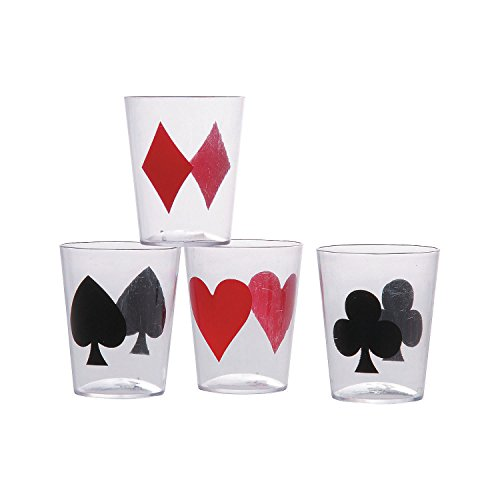 Fun Express Casino Card Suit Plastic Shot Glasses - 24 - Casino Glasses