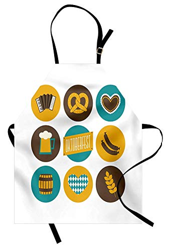 German Aprons, Adjustable Bib Kitchen Cooking Apron for Women Men Chef Professional for Baking Gardening - Bavarian Oktoberfest Themed Symbols Pretzel Beer and Accordion, Earth Yellow Teal and Brown -