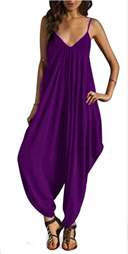 V Neckline All In One Beach Jumpsuit Purple Size XX-Large Purple Loose Fit Shorts