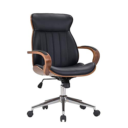 IDS Home Modern High Back Walnut Wood Office Chair with PU Leather Curved Ergonomic Bentwood Seat Swivel, Executive Wheels, Height Adjustment - Black
