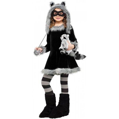 Fun World Sweet Raccoon Costume, Medium 8 - 10, Black -
