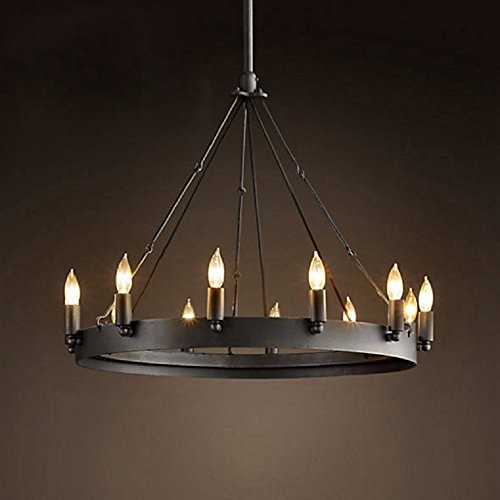 Wagon Wheel Lighting (Aiwen Wrought Iron Lamps Country Retro Simple Chandelier Black 12 lamp holders)