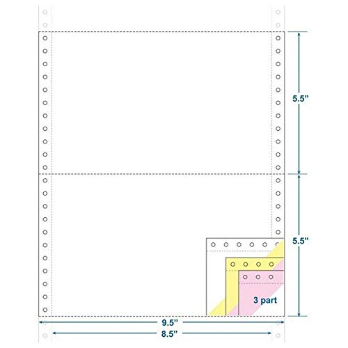 3-Ply Carbonless Paper, White/Canary/Pink, Form Size 9-1/2