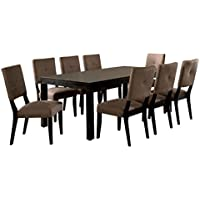 247SHOPATHOME Idf-3311T-9PC Dining-Room, 9-Piece Set, Brown