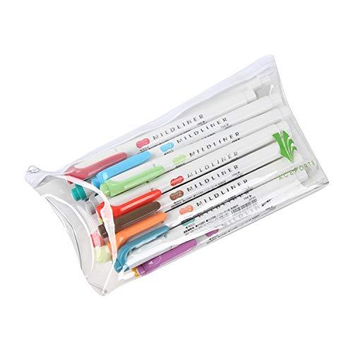 ZEBRA MILDLINER Highlighter pen markers, 5-Pack (WKT7-5C / WKT7-5C-NC / WKT7-5C-RC / WKT7-N-5C / WKT7-5C-HC) 25 Color Full Range Set with Original vinyl pen case by ZEBRA MILDLINER (Image #3)