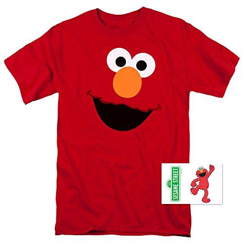 Sesame Street Elmo Face T Shirt & Exclusive Stickers (Medium)