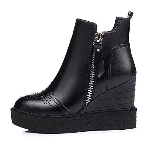 AllhqFashion Damen Hoher Absatz Blend-Materialien Niedrig-Spitze Rein Reißverschluss Stiefel,Weiß,37