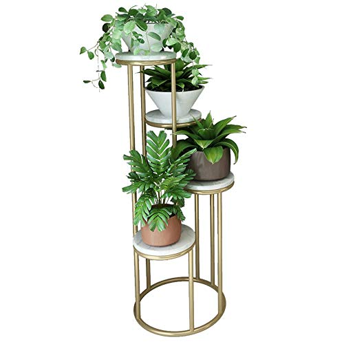 ZXG-Flower Stand Nordic Wrought Iron Flower Stand Multi-Layer Green Plant Marble Flower Pot Rack Living Room Balcony Simple Floor Flower Several Gold (Color : White, Size : Four Floors)
