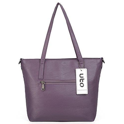Women Bags Leather Blue Uto Purple Bags Washed Set Purse 2 Bags Handbag Shoulder Pcs Pu 4w47qgIX