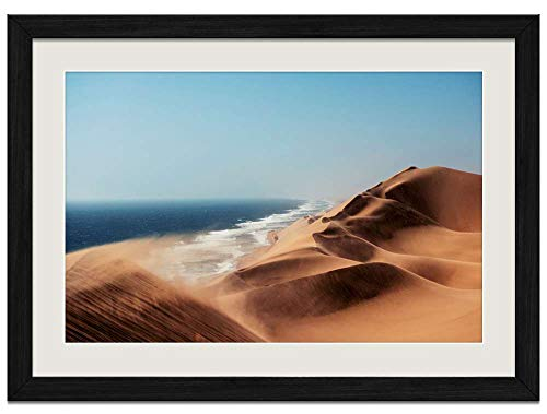 Desert Wind Dunes Lake - Art Prints Wall Wood Frames Posters Framed Picture Home Décor(16x12inch Black Frame)