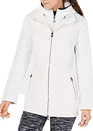 Calvin Klein Womens Performance Plus Size Quilted Hooded Jacket Color White Size - White - Large