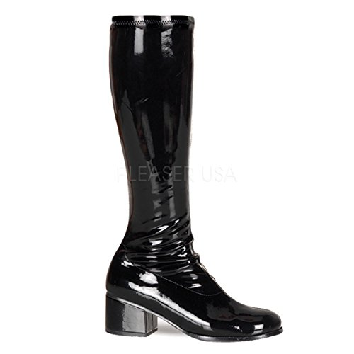 (Funtasma by Pleaser Women's Retro-300 Boot,Black Stretch Patent,8 M)