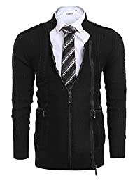 COOFANDY Mens Zip Thick Knitted Slim Fit Cardigan Sweater with Pockets