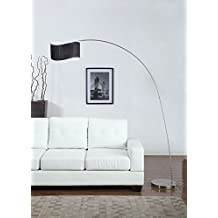 Artiva USA Curve Modern and Sleek Design 1-Arch Brushed Steel Finish Floor Arc Lamp, 81""