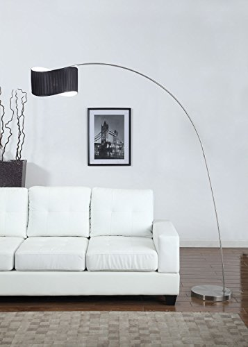 Artiva USA Curve Modern and Sleek Design 1-Arch Brushed Steel Finish Floor Arc Lamp, 81