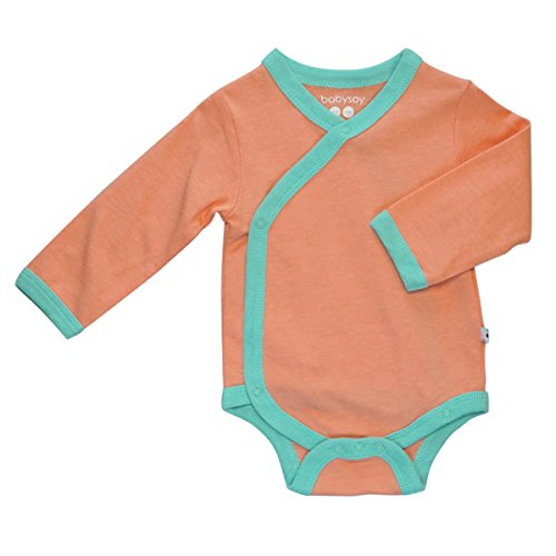 Babysoy Basic Long Sleeve Kimono Bodysuit - Organic Baby One Piece (6-12 Months, Cantaloupe/Sea) Mom Baby Ultrasoft Onesie
