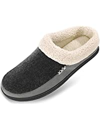 Men's Slippers Fuzzy House Shoes Memory Foam Slip On Clog Plush Wool Fleece Indoor Outdoor