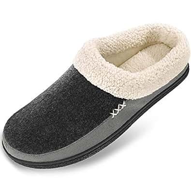VONMAY Men's Wool Plush Fleece Memory Foam Slippers Slip On Clog House Shoes Indoor Outdoor Black Size: 7-8