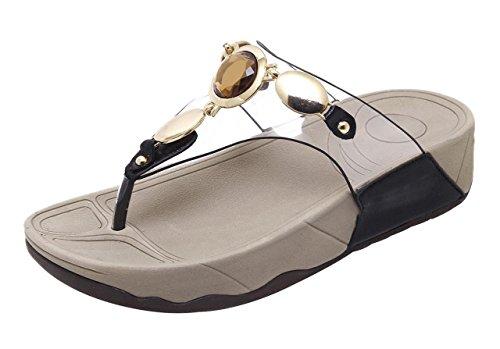 Camssoo Kvinners Rund Tå Glitrende Perle T-stropp Böhmen Sandaler Sommer Strand Flip-flops Plattformer Kile Tøfler Sko # 2 Svart Myk Pu / Pvc