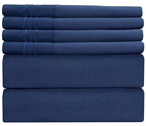 Queen Size Sheet Set - 6 Piece Set - Hotel Luxury Bed Sheets - Extra Soft - Deep Pockets - Easy Fit - Breathable & Cooling Sheets - Comfy - Royal Blue - Navy Blue Bed Sheets - Queens Sheets - 6 PC from CGK Unlimited