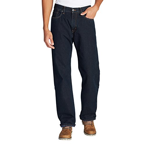 Eddie Bauer Men's Flannel-Lined Jeans - Relaxed Fit, Dk Indigo Regular 36/30 (Denim Relaxed Fit Jean Flannel)