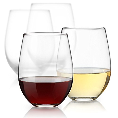 Sweese Stemless Wine Glasses - Glass Set for White or Red Wine - 18 Ounces, Set of 4