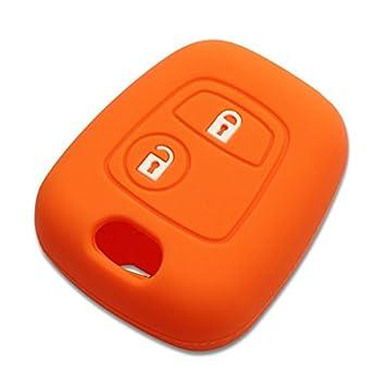 Funda silicona para llave Peugeot 106 206 306... naranja ...