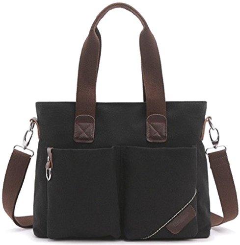 Shikyou  2Way Antique Style Canvas Shoulder Tote Bag  Black