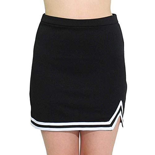 - Agoky Kids Big Girls A-Line Tennis Mini Skirt Cheerlearding School Uniform Skirt Cheer Leader Dresses Costume V-Notch Black 10-12