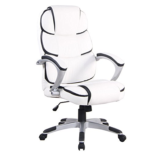 Price comparison product image Lykos PU Leather High Back Executive Office Chair Modern Swivel Desk Task Comp (White)