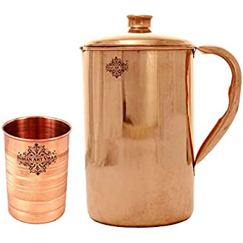 Moscow Mule 1mm Solid Copper Handmade Engraved Copper Pitcher Vessel Ayurveda Jug for Drinking Water Cocktail DEMMEX The Pitcher Antiqued-Engraved