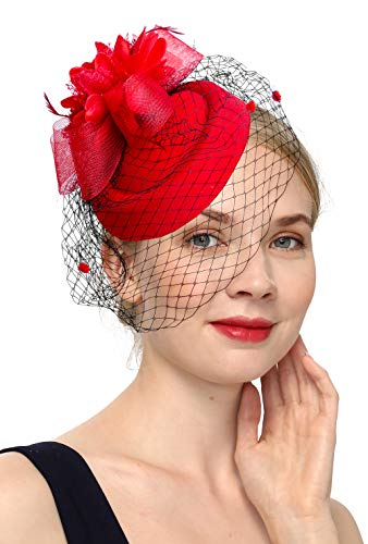 Cizoe Fascinator Hair Clip Pillbox Hat Bowler Feather Flower Veil Wedding Party Hat Tea Hat(1-Red)