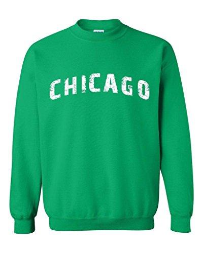 - Xekia Chicago illinois Distress Windy State Unisex Crewneck Sweatshirt XXXX-Large Irish Green
