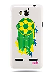 """GRÜV Premium Case - """"Brazil Soccer Football 2014 Digital Sport Art"""" Design - Best Quality Designer Print on White Hard Cover - for Huawei Ascend G600"""