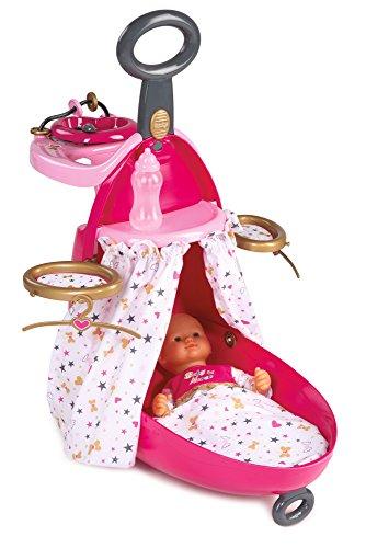 Smoby Toys - 220316 - Baby Nurse, Valise Nursery, 3 en 1, Valise - Chaise Haute - Lit pour Poupon, Accessoires Inclus, 60,5 cm