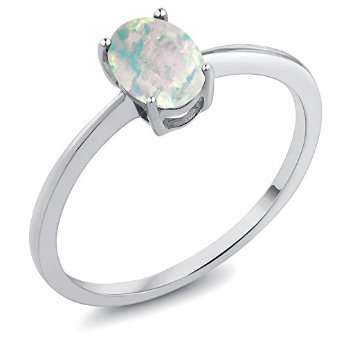 0.63 Ct Oval Cabochon White Simulated Opal 10K White Gold Ring (Size 6) - Cabochon Gold Ring