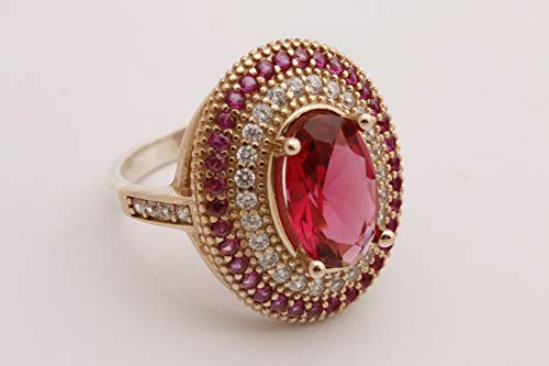 Turkish Handmade Jewelry Small Oval Shape Pink Ruby and Round Cut Topaz 925 Sterling Silver Ring Size All