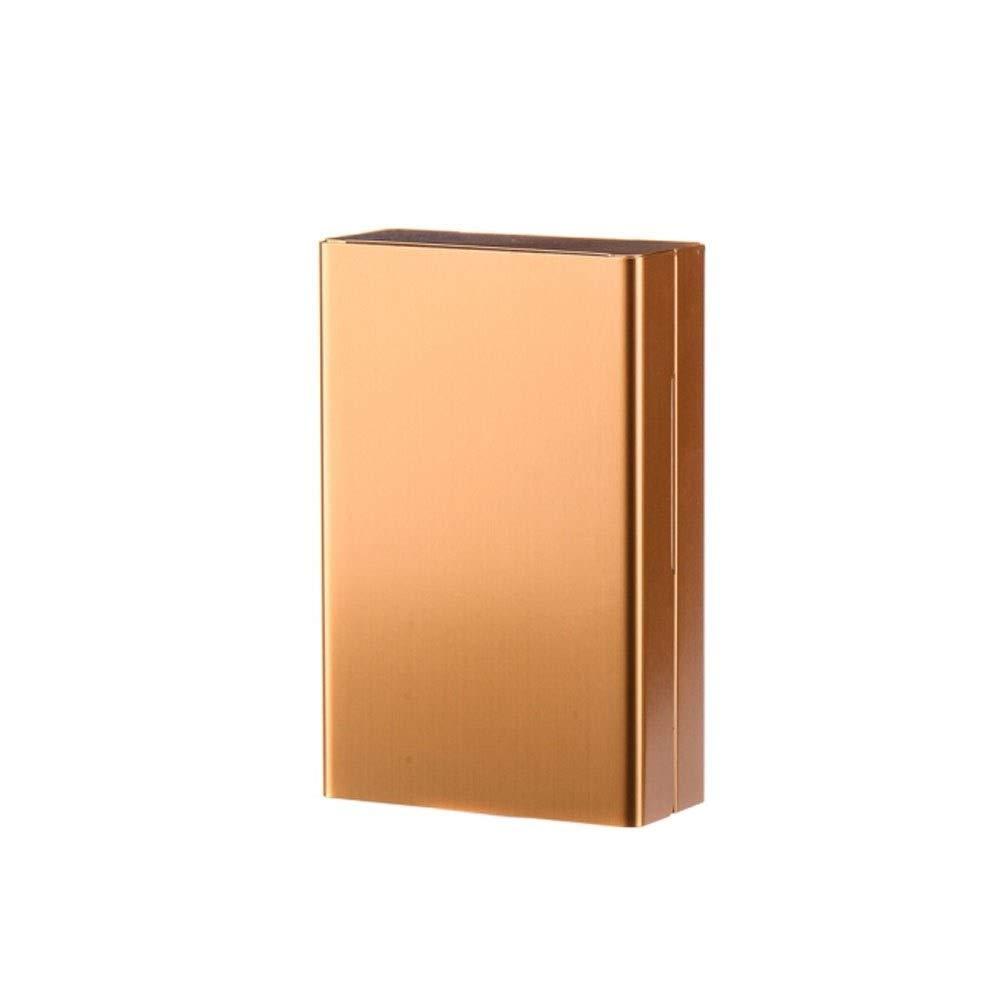 WalledKing Ultra-Thin Portable Aluminum Alloy Creative Slider Cigarette Case, Automatic Cover 20 Cigarette Cases, Can Hold Cigarettes, Black/Red/Gold/Blue/White, Men's Birthday Gift, Ideal GIF