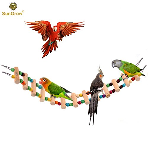 SunGrow Colorful Bird Ladder Bridge by Helps Birds with Balance: Bright, Durable & flexible: Made with Natural wood & edible dye : Easy Installation: Ideal Exercise & Fun accessory for All Birds