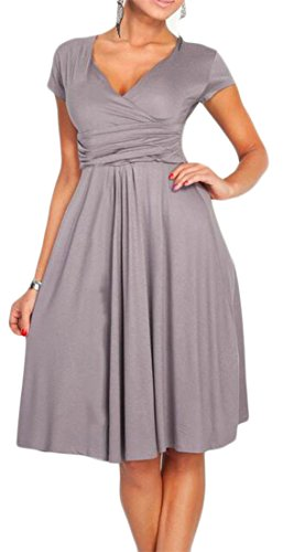 Waist Womens Pleated Solid Dress Wrap Cruiize Neck V Nightwear Gray High ptqdP7w