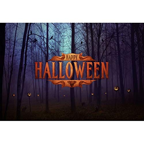 OFILA Happy Halloween Backdrop 6.5x5ft Polyester Fabric Spooky Forests Photos Background Halloween Night Pumpkin Lights Shoots Halloween Zombie Games Shoots School Hallween Party Decor Props]()