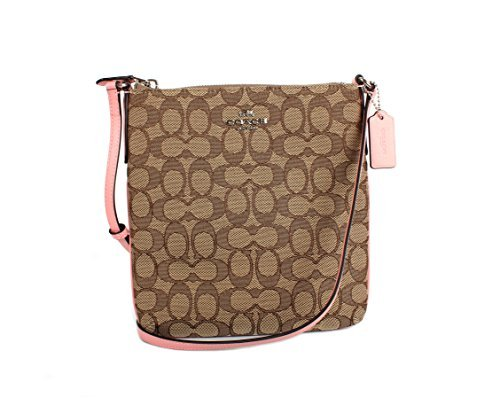 Coach Signature C Outline Khaki Pink Crossbody Swingpack Shoulder Bag F58421 by Coach