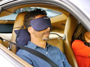 Gosleep Travel Pillow   Sleep Mask With Memory Foam Pillow That Prevents Head Bobbing And Blocks Light For Better Sleep During Air Travel And Road Trips   Navy Blue