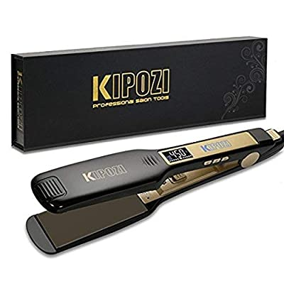 KIPOZI Professional Titanium Flat Iron Hair Straightener with Digital LCD Display, Dual Voltage, Instant Heat Up, 1.75 Inch