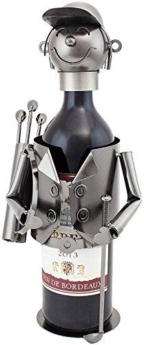 - BRUBAKER Wine Bottle Holder Golfer Metal Sculptures and Figurines Decor Wine Racks and Stands Gifts Decoration