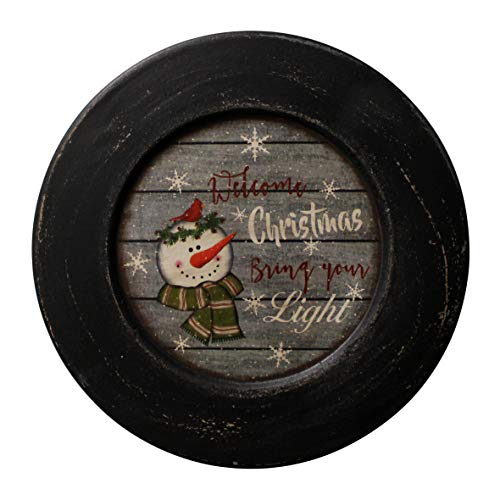 Snowman Decorative Plates - CVHOMEDECO. Snowman Welcome Christmas Decorative Plate Rustic Distressed Round Display Wooden Plate Home Décor Art, 10-3/4