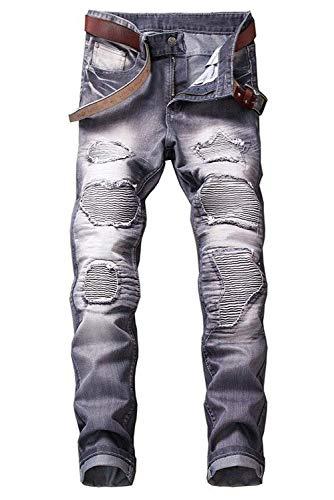 2018 Jeans Da Strappati Elasticizzati Uomo Denim Mode Di Marca Slim Fit Grau